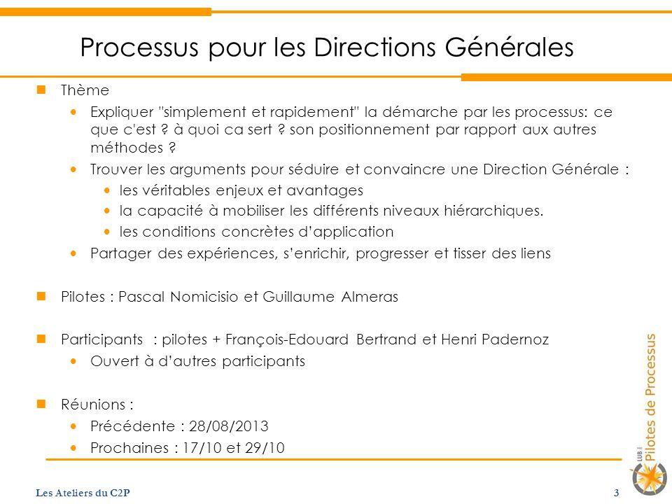 Processus pour les Directions Générales