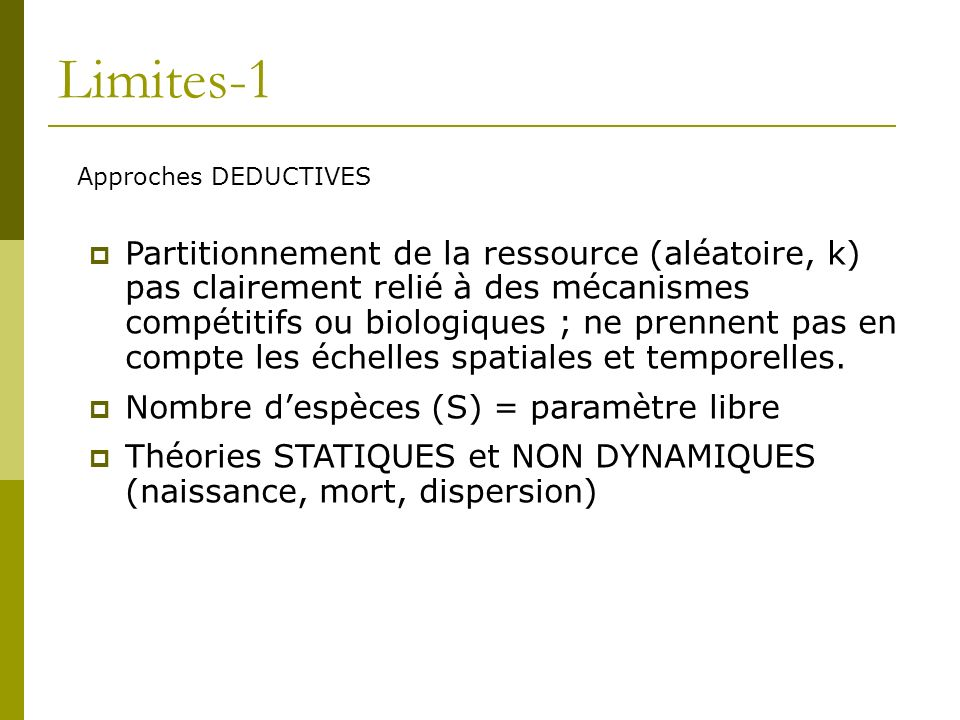 Limites-1 Approches DEDUCTIVES.