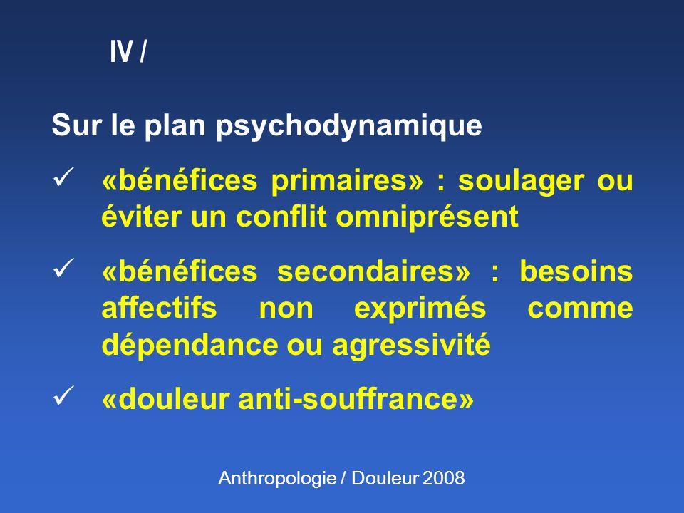 Sur le plan psychodynamique