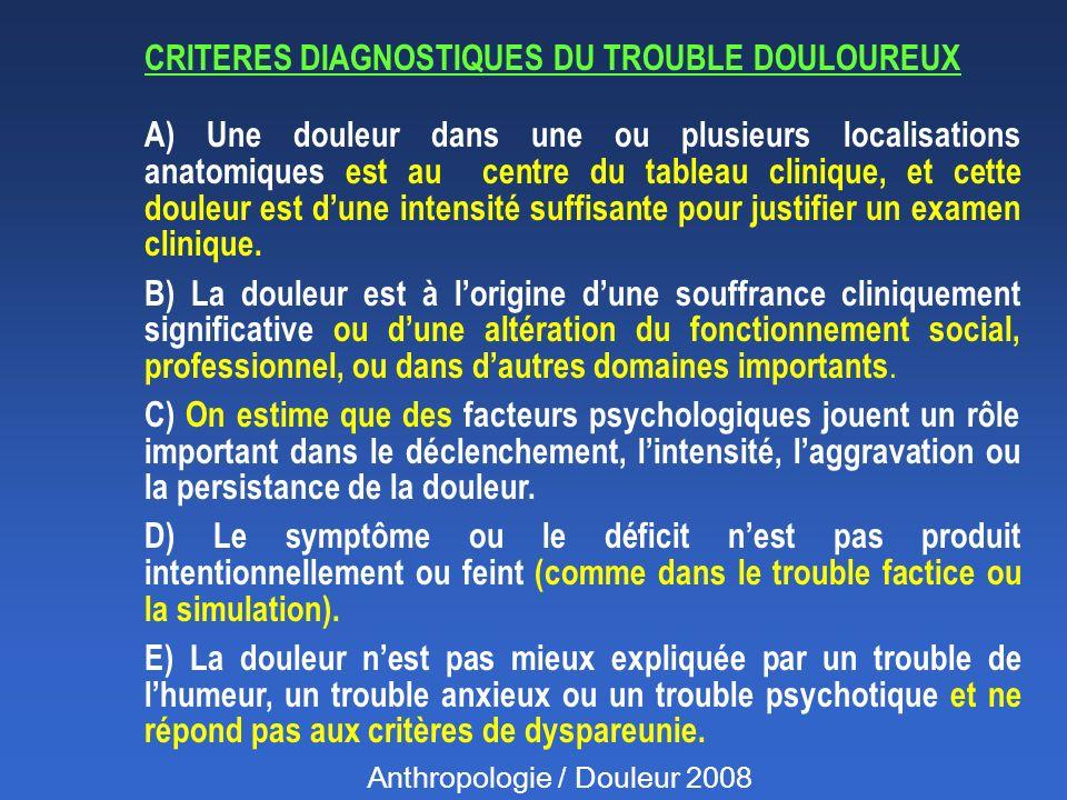 CRITERES DIAGNOSTIQUES DU TROUBLE DOULOUREUX