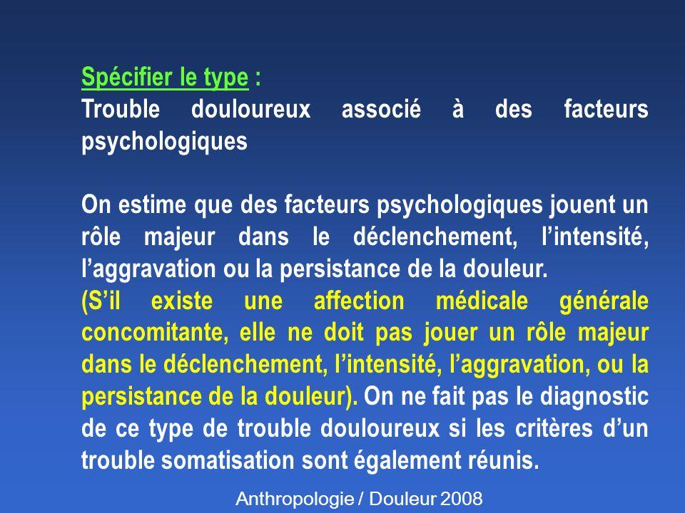 Trouble douloureux associé à des facteurs psychologiques
