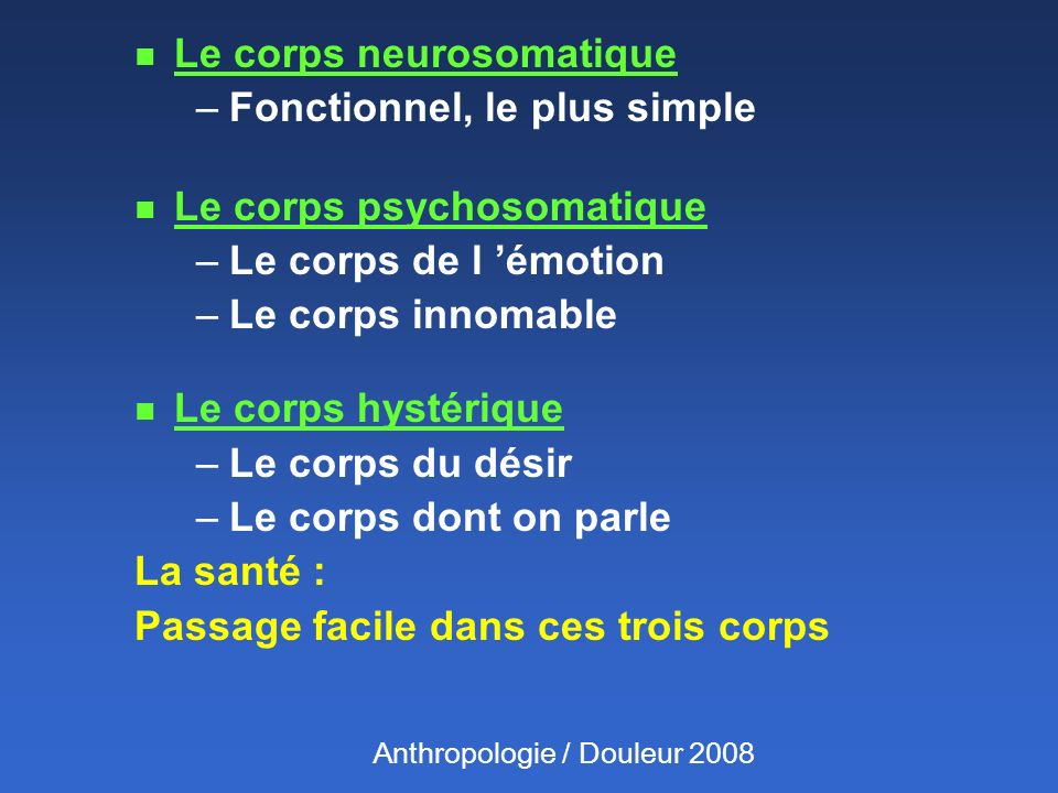 Le corps neurosomatique Fonctionnel, le plus simple