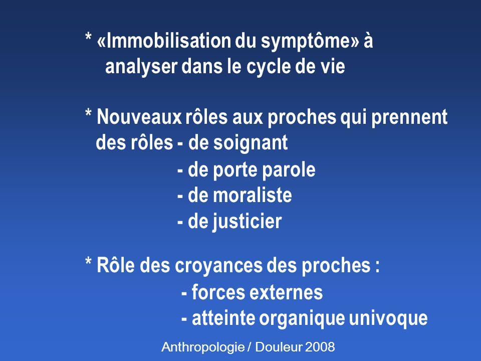 * «Immobilisation du symptôme» à analyser dans le cycle de vie