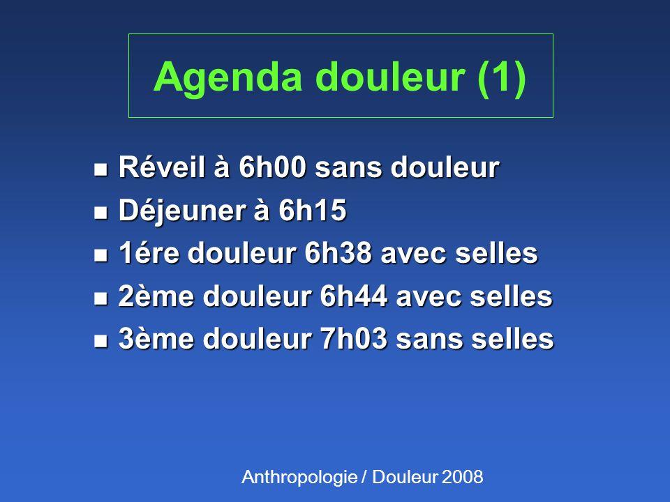 Agenda douleur (1) Réveil à 6h00 sans douleur Déjeuner à 6h15