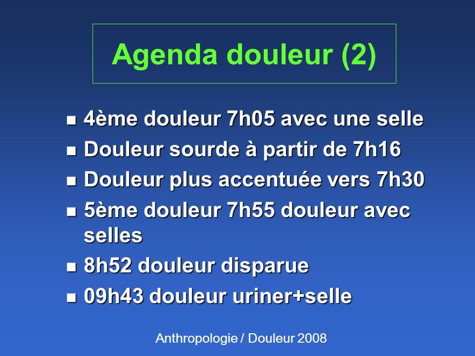 Agenda douleur (2) 4ème douleur 7h05 avec une selle