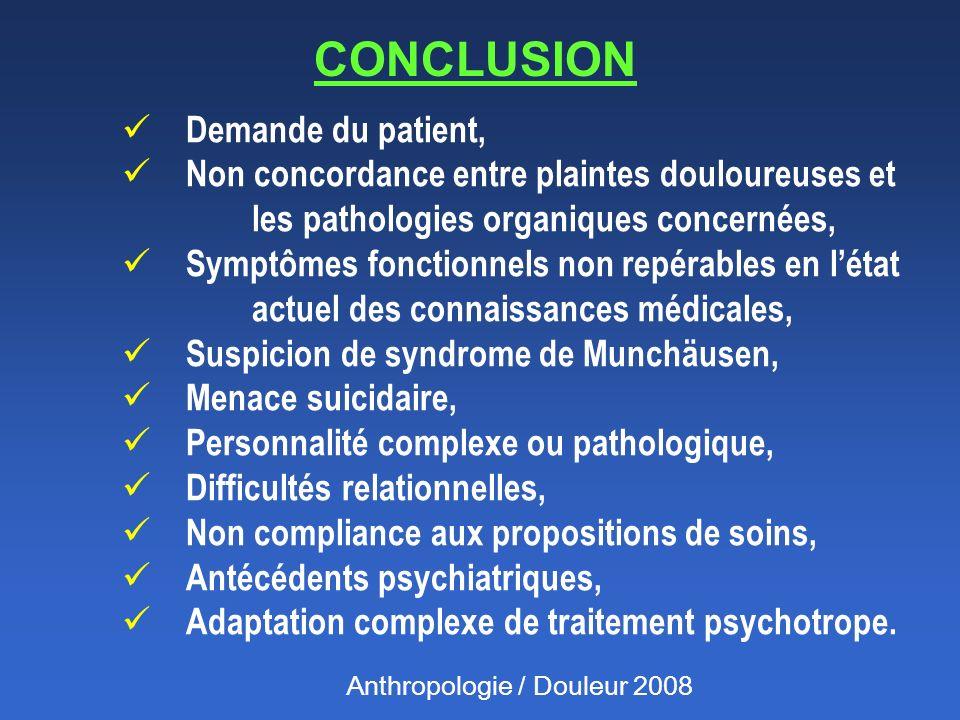 CONCLUSION Demande du patient,