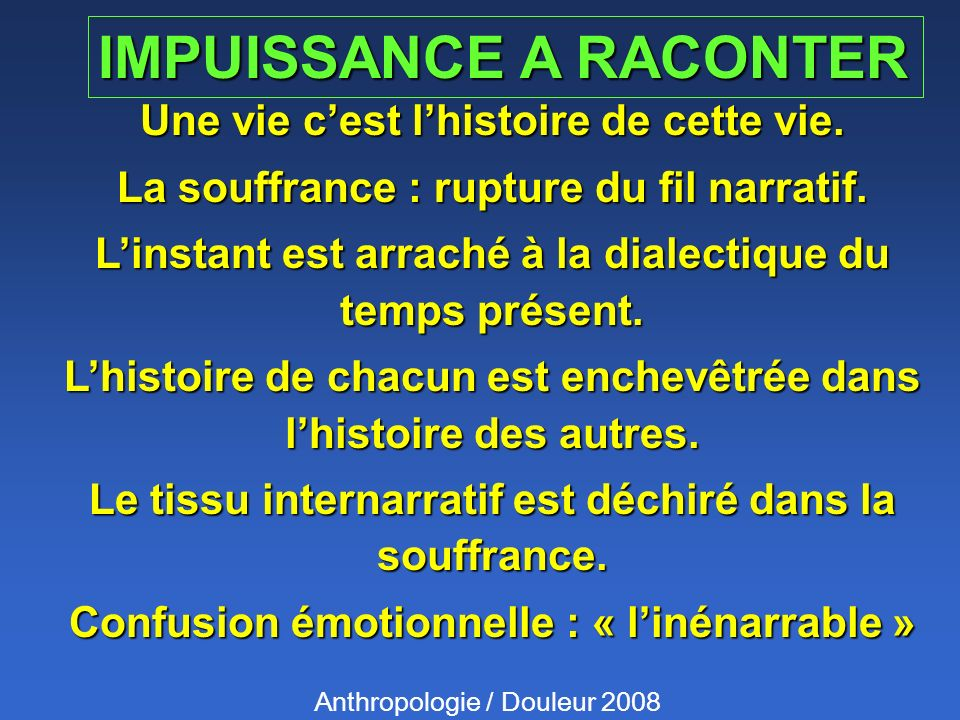 IMPUISSANCE A RACONTER