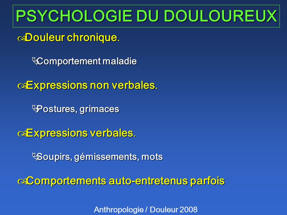 PSYCHOLOGIE DU DOULOUREUX