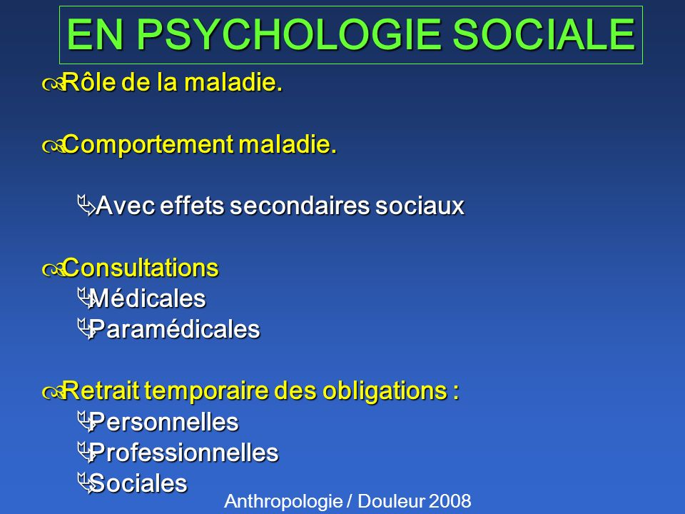 EN PSYCHOLOGIE SOCIALE