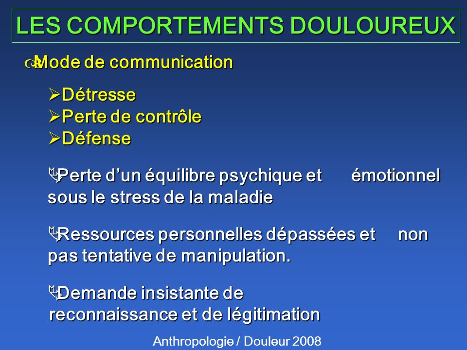 LES COMPORTEMENTS DOULOUREUX