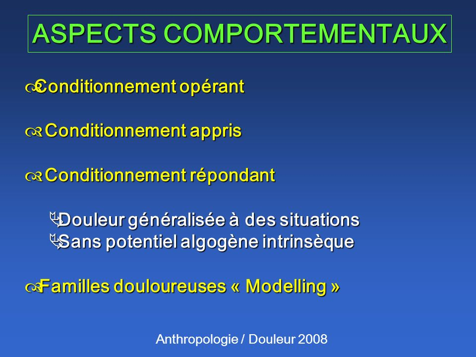 ASPECTS COMPORTEMENTAUX