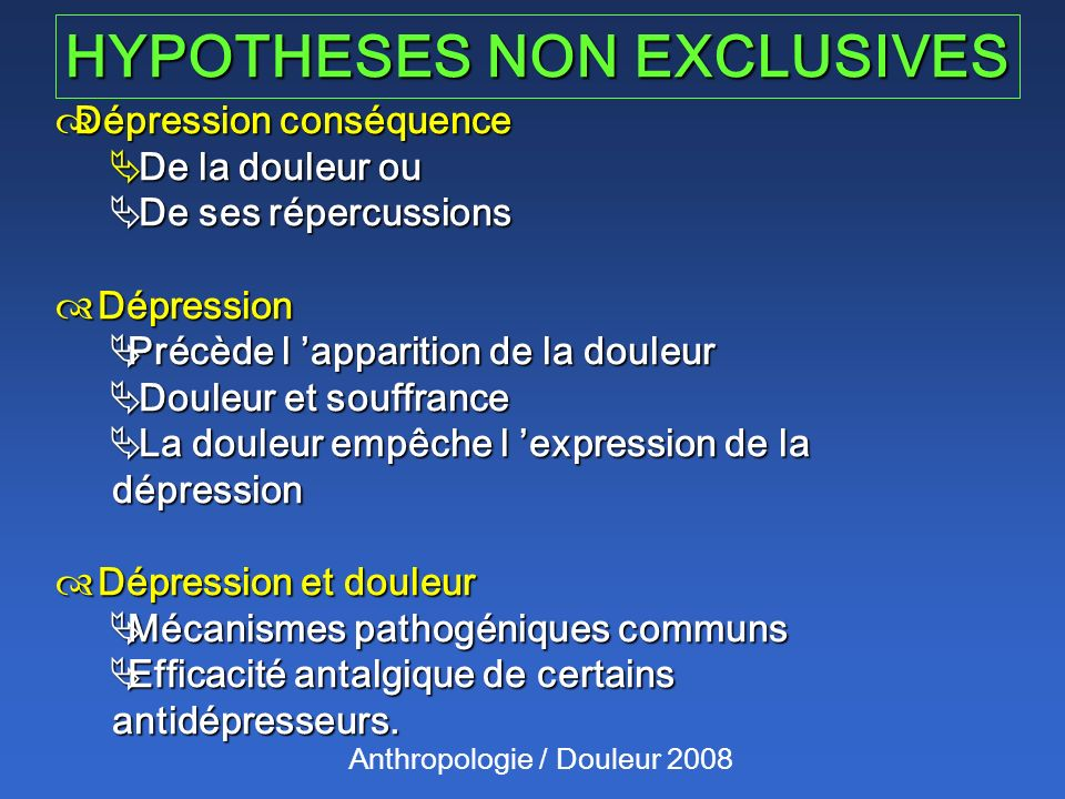 HYPOTHESES NON EXCLUSIVES