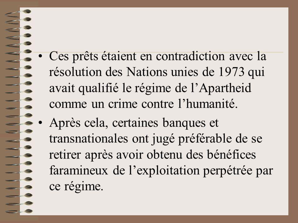 Ces prêts étaient en contradiction avec la résolution des Nations unies de 1973 qui avait qualifié le régime de l'Apartheid comme un crime contre l'humanité.