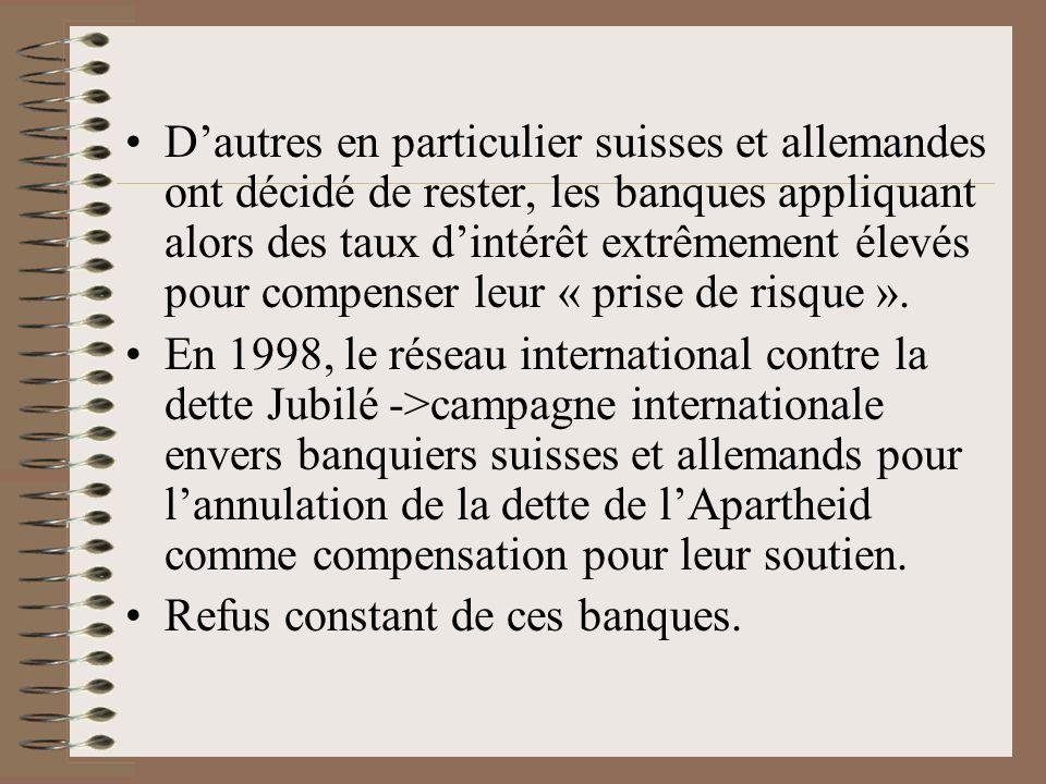D'autres en particulier suisses et allemandes ont décidé de rester, les banques appliquant alors des taux d'intérêt extrêmement élevés pour compenser leur « prise de risque ».