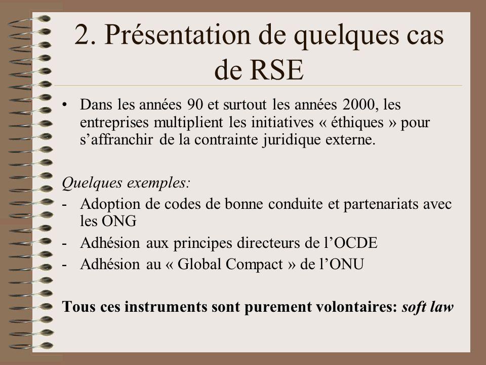 2. Présentation de quelques cas de RSE