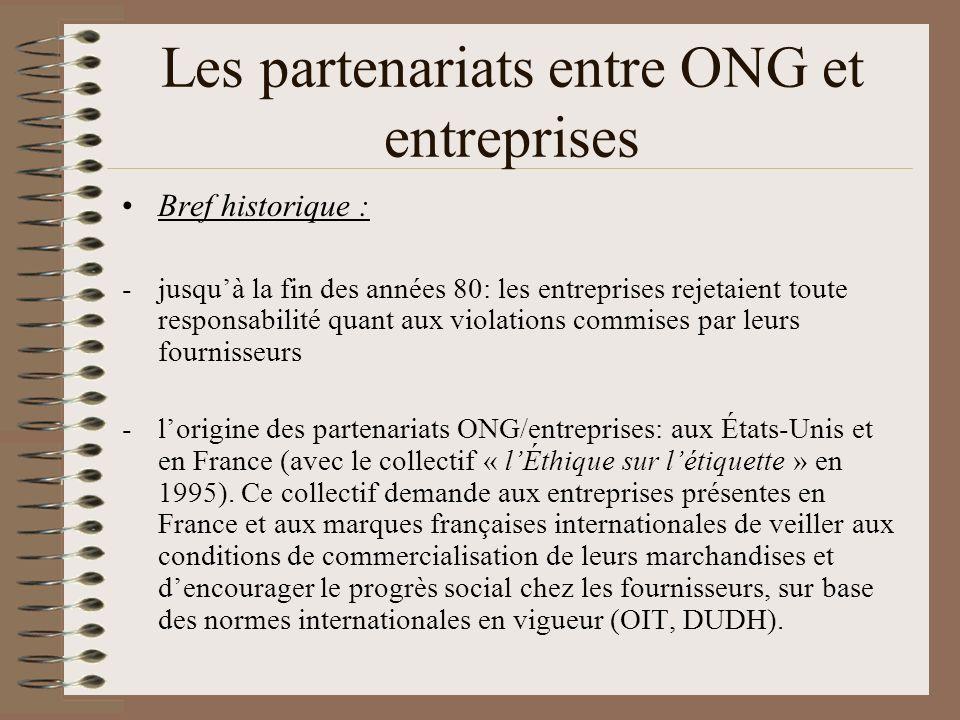 Les partenariats entre ONG et entreprises