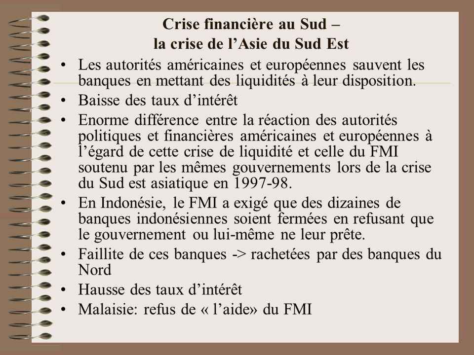 Crise financière au Sud – la crise de l'Asie du Sud Est