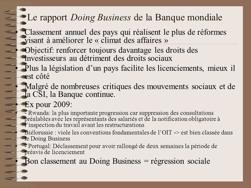 Le rapport Doing Business de la Banque mondiale