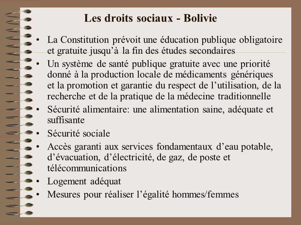 Les droits sociaux - Bolivie