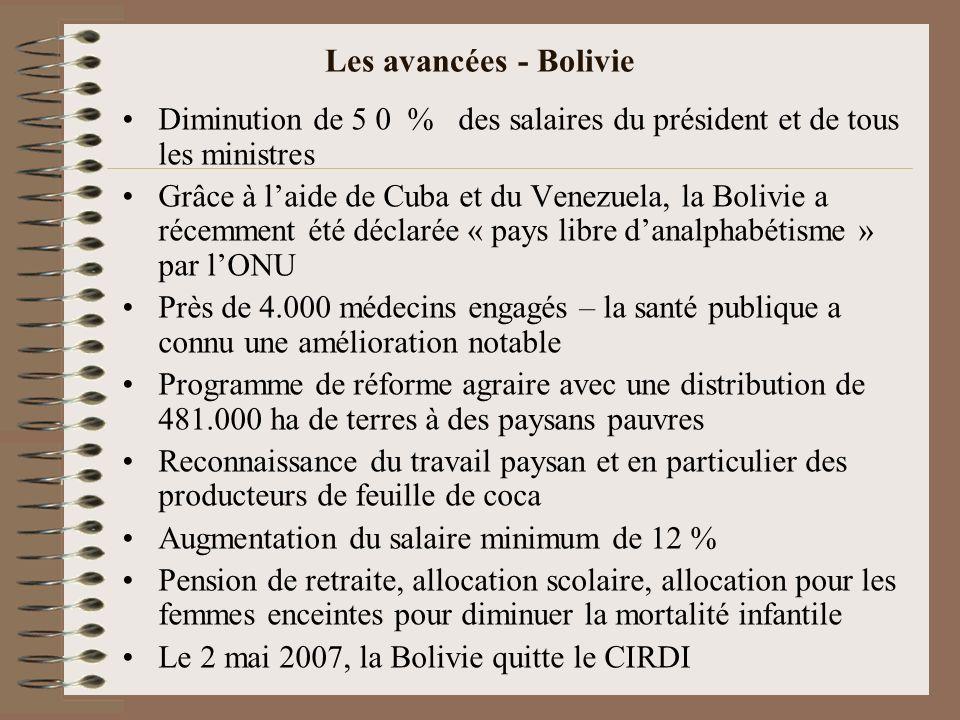 Les avancées - Bolivie Diminution de 5 0 % des salaires du président et de tous les ministres.