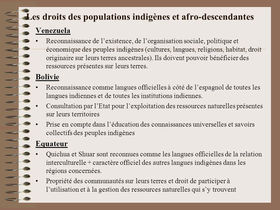 Les droits des populations indigènes et afro-descendantes