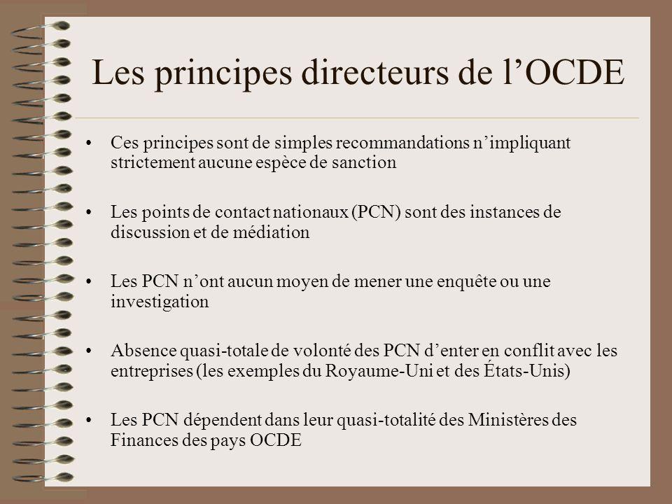 Les principes directeurs de l'OCDE