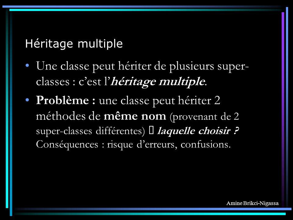 Héritage multiple Une classe peut hériter de plusieurs super-classes : c'est l'héritage multiple.