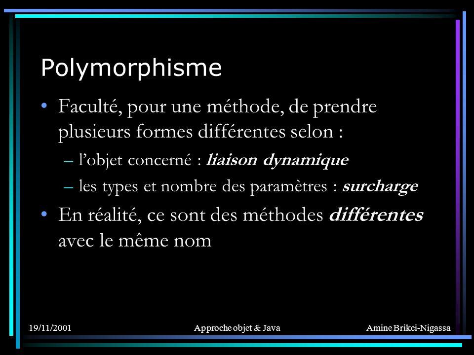 Polymorphisme Faculté, pour une méthode, de prendre plusieurs formes différentes selon : l'objet concerné : liaison dynamique.