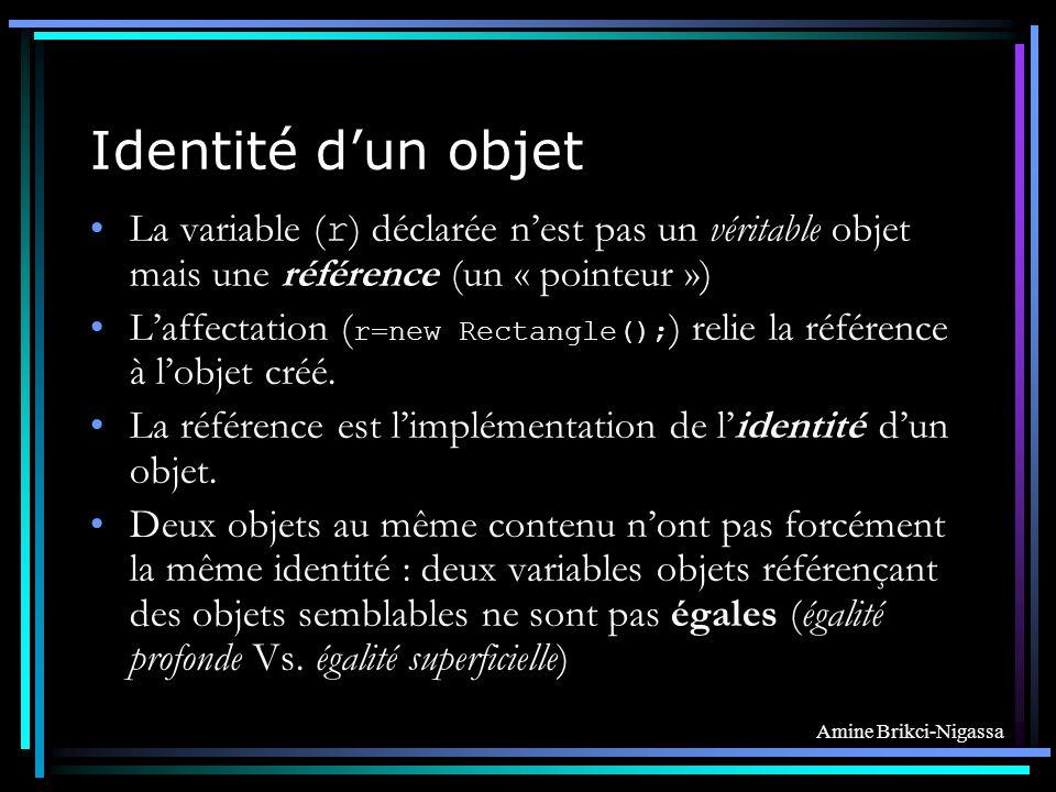 Identité d'un objet La variable (r) déclarée n'est pas un véritable objet mais une référence (un « pointeur »)