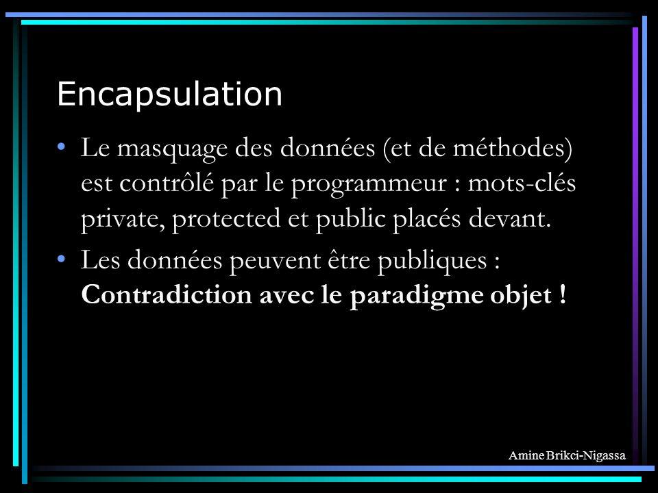 Encapsulation Le masquage des données (et de méthodes) est contrôlé par le programmeur : mots-clés private, protected et public placés devant.
