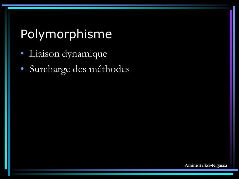 Polymorphisme Liaison dynamique Surcharge des méthodes