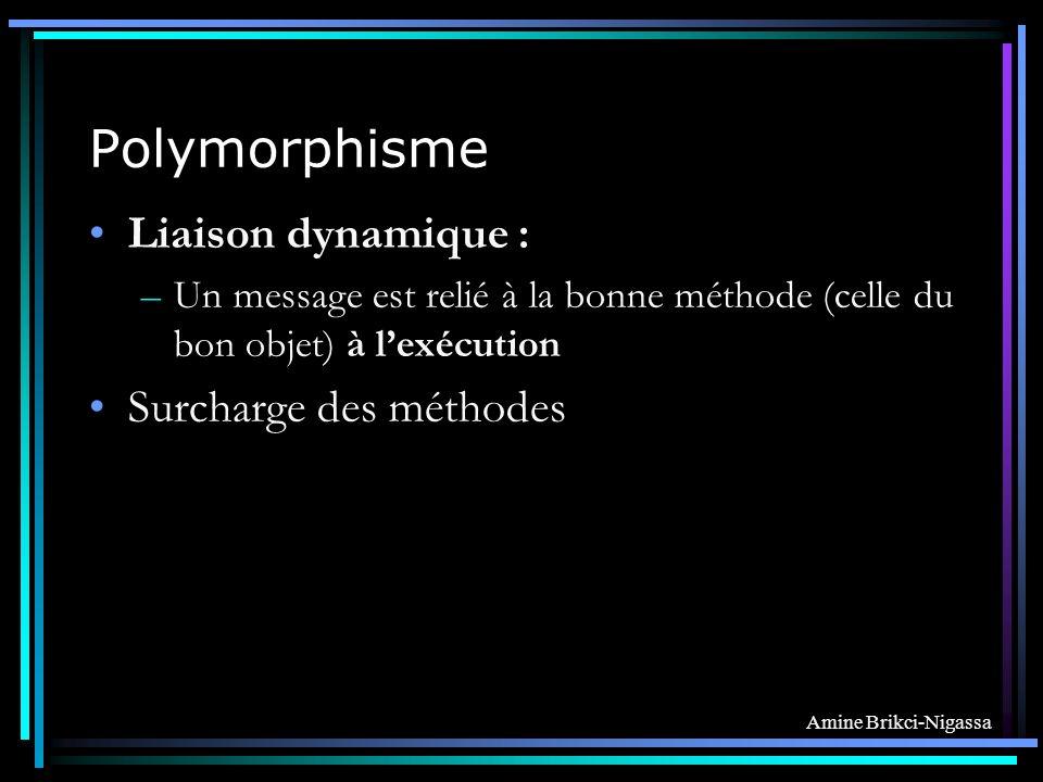 Polymorphisme Liaison dynamique : Surcharge des méthodes
