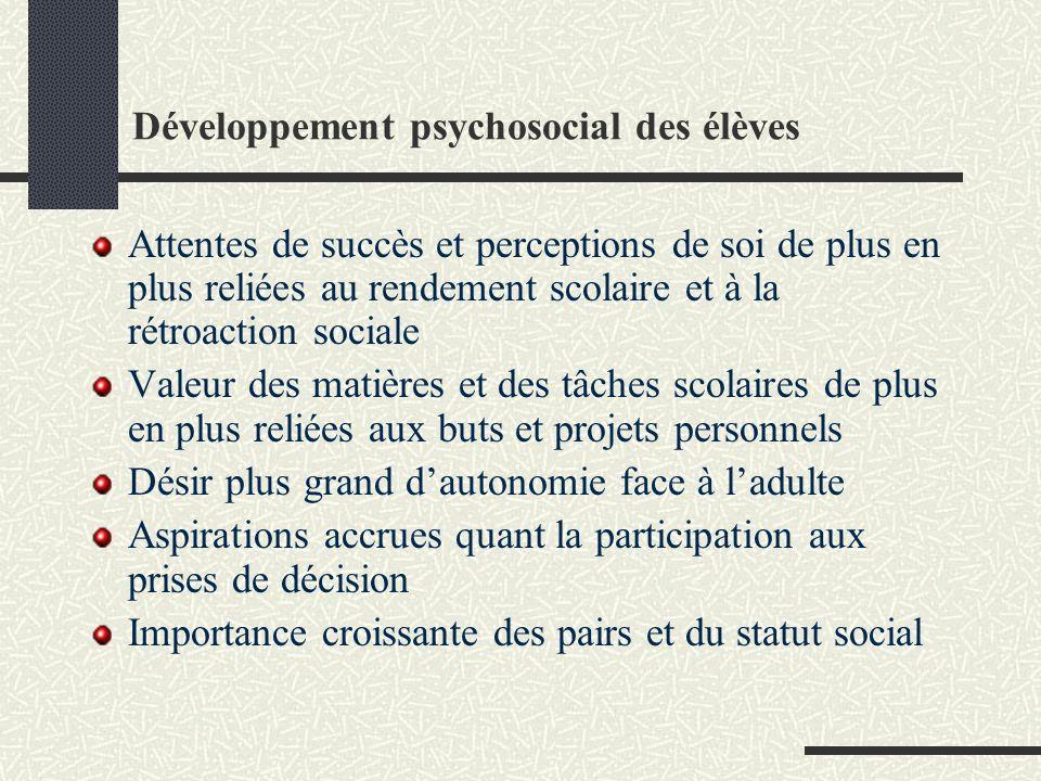 Développement psychosocial des élèves