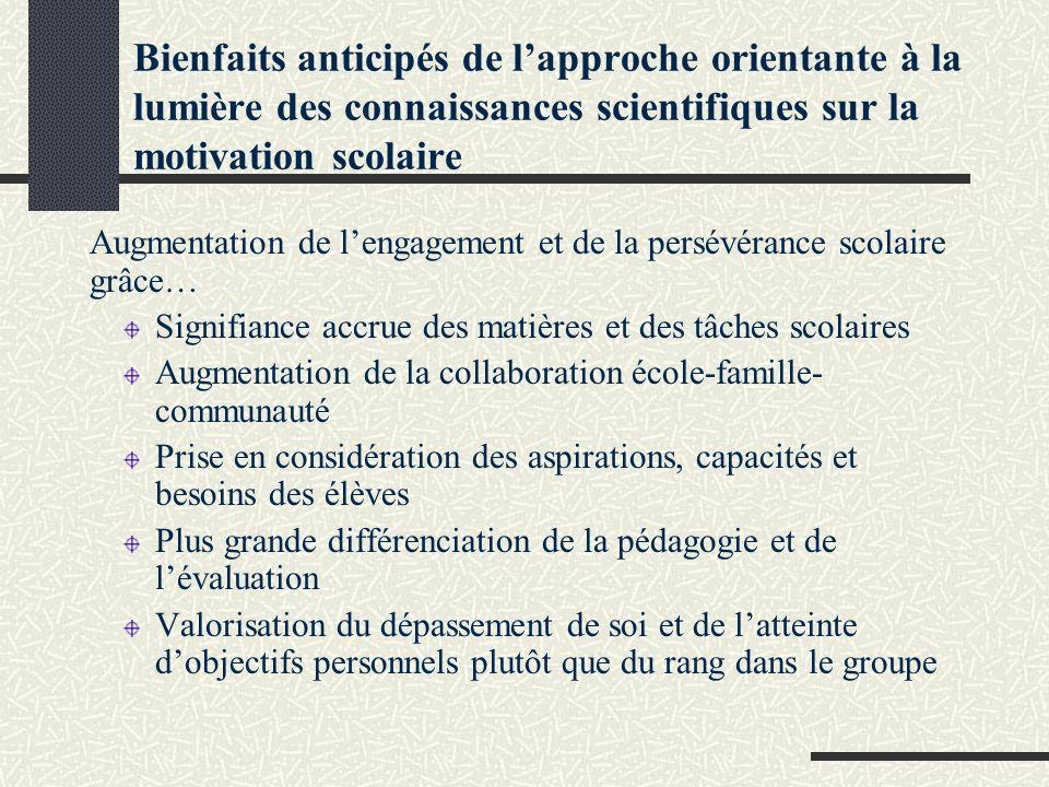 Bienfaits anticipés de l'approche orientante à la lumière des connaissances scientifiques sur la motivation scolaire