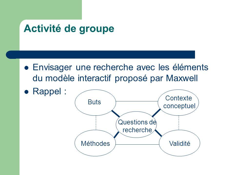 Activité de groupe Envisager une recherche avec les éléments du modèle interactif proposé par Maxwell.