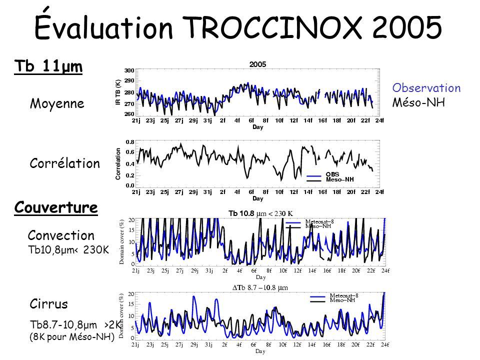 Évaluation TROCCINOX 2005 Tb 11μm Couverture Moyenne Corrélation
