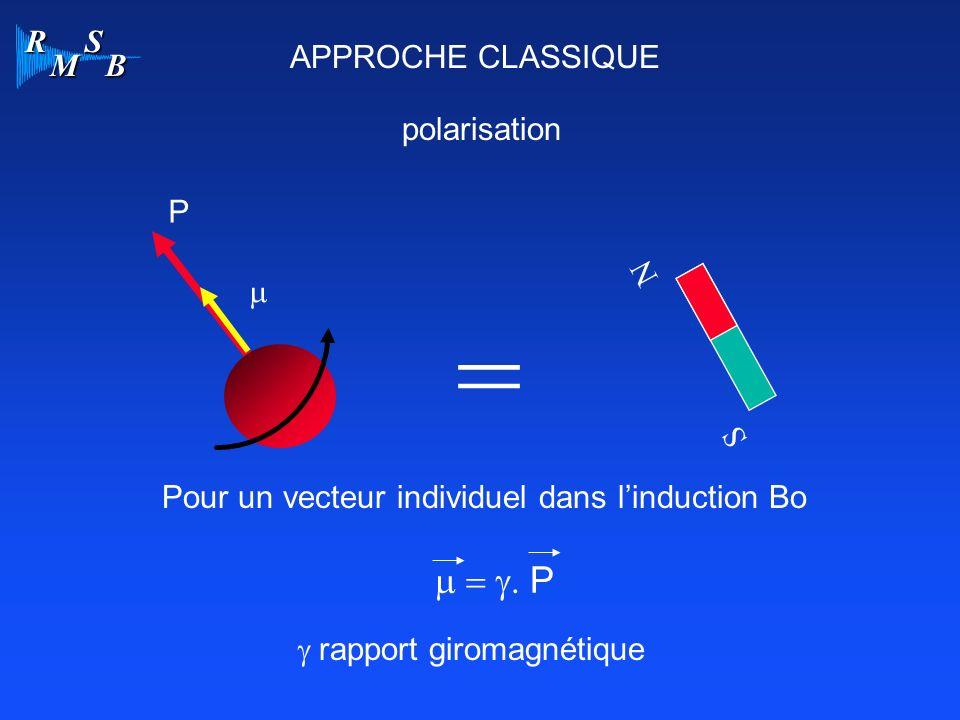 = m = g. P APPROCHE CLASSIQUE polarisation P N m S