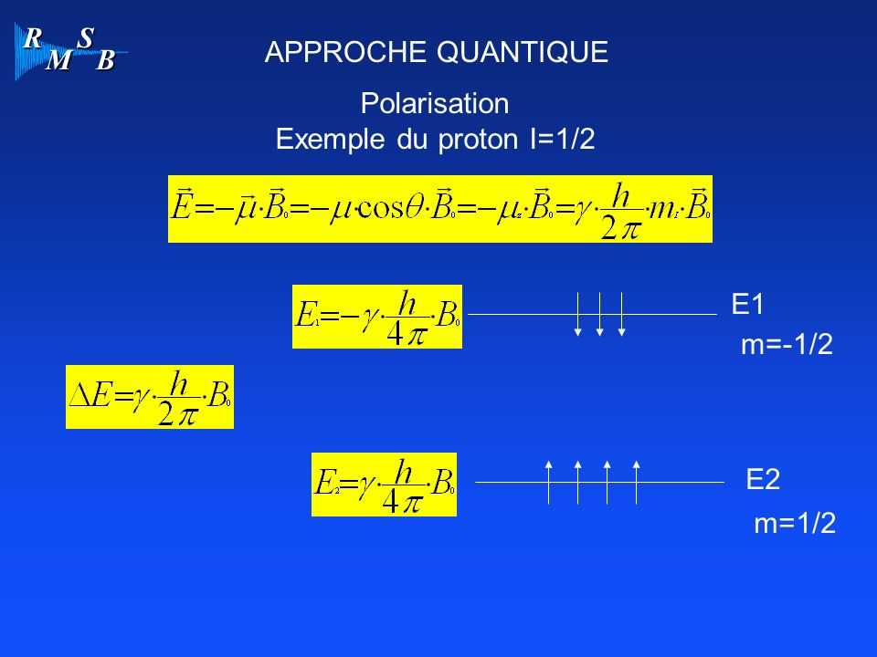 APPROCHE QUANTIQUE Polarisation Exemple du proton I=1/2 E1 m=-1/2 E2 m=1/2