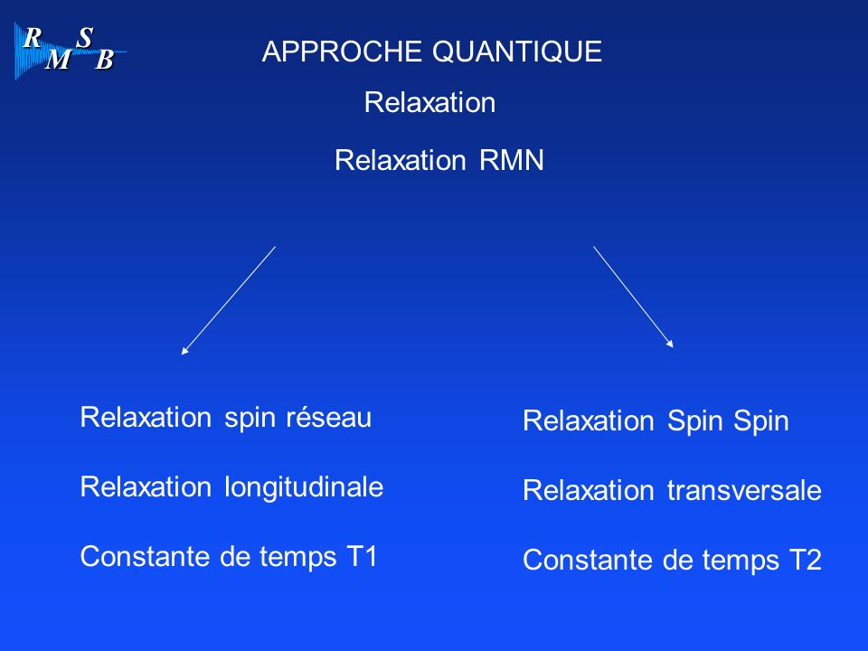 APPROCHE QUANTIQUE Relaxation. Relaxation RMN. Relaxation spin réseau. Relaxation longitudinale.