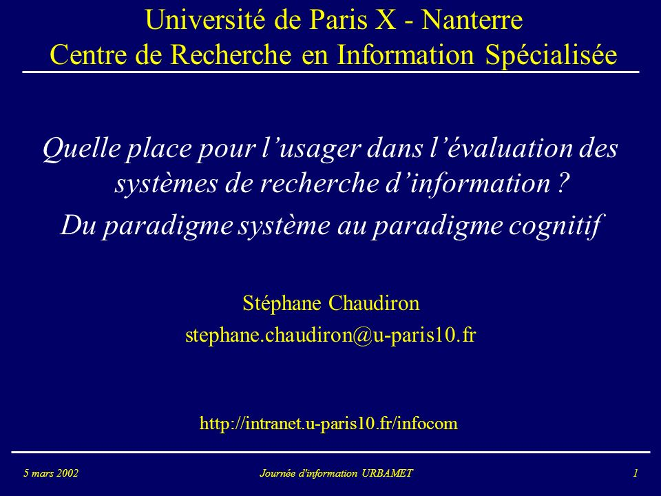 Du paradigme système au paradigme cognitif