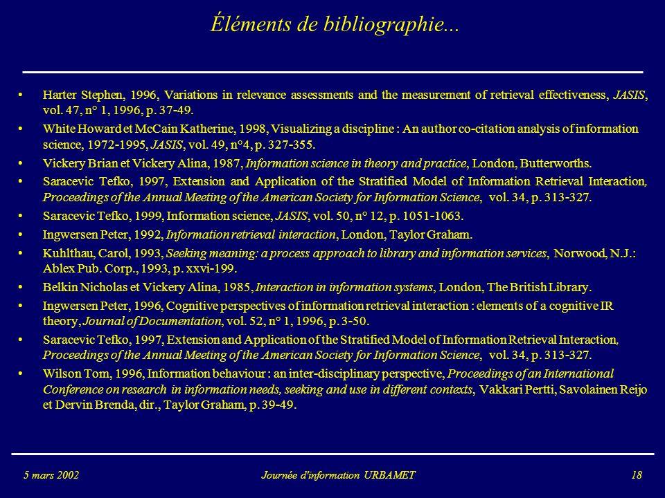 Éléments de bibliographie...
