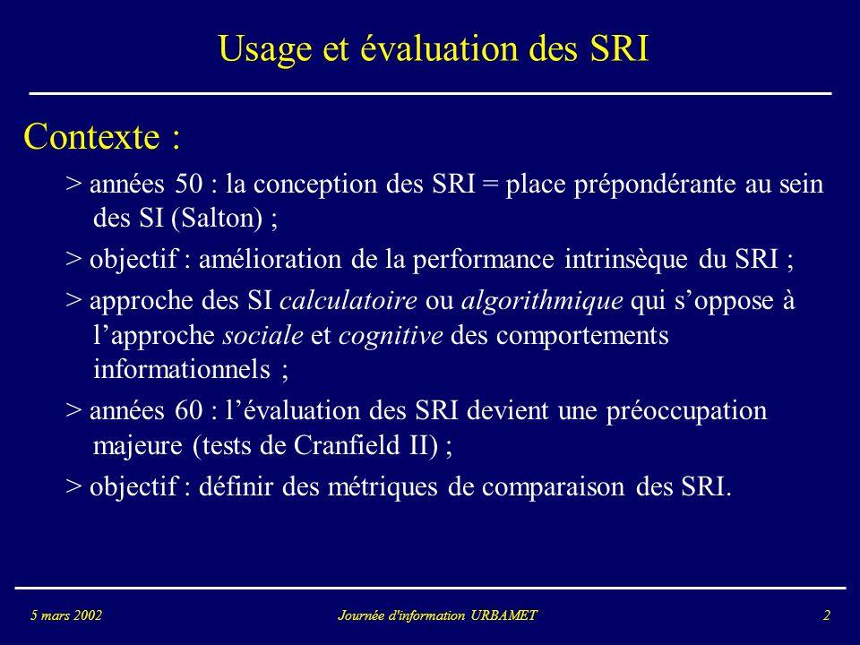 Usage et évaluation des SRI