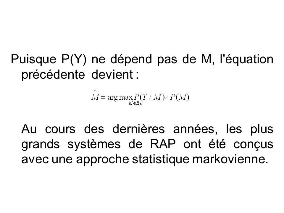 Puisque P(Y) ne dépend pas de M, l équation précédente devient :
