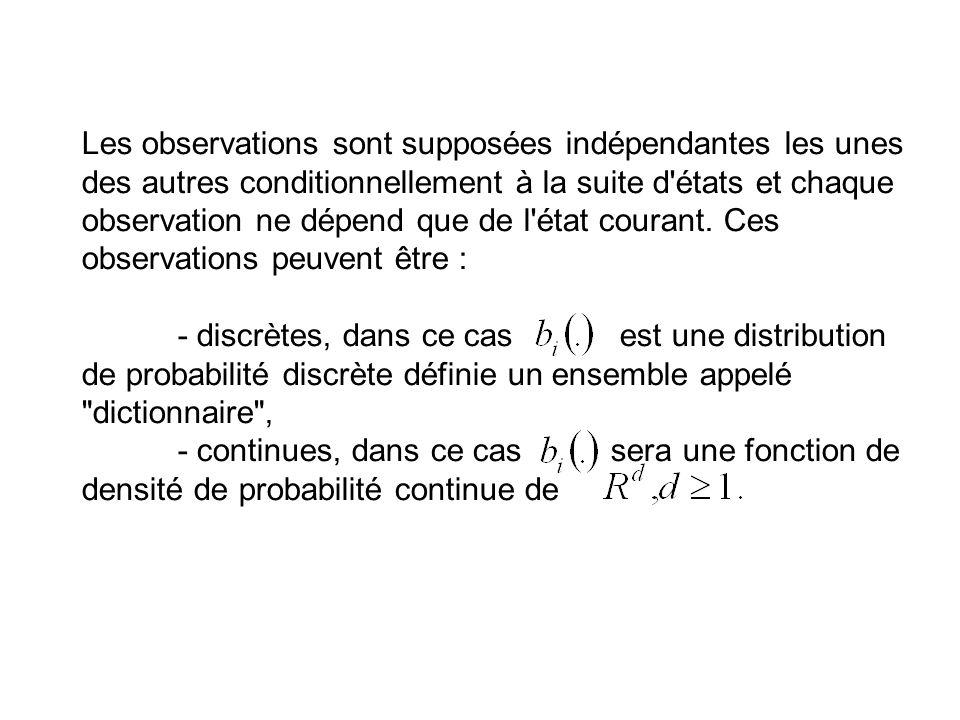 Les observations sont supposées indépendantes les unes des autres conditionnellement à la suite d états et chaque observation ne dépend que de l état courant. Ces observations peuvent être :