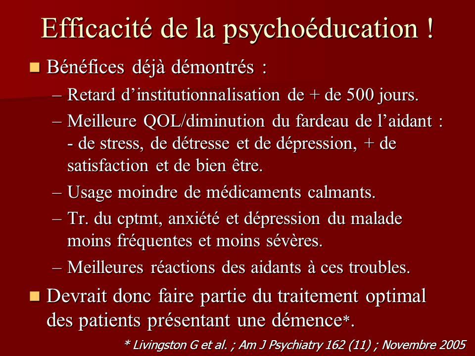 Efficacité de la psychoéducation !