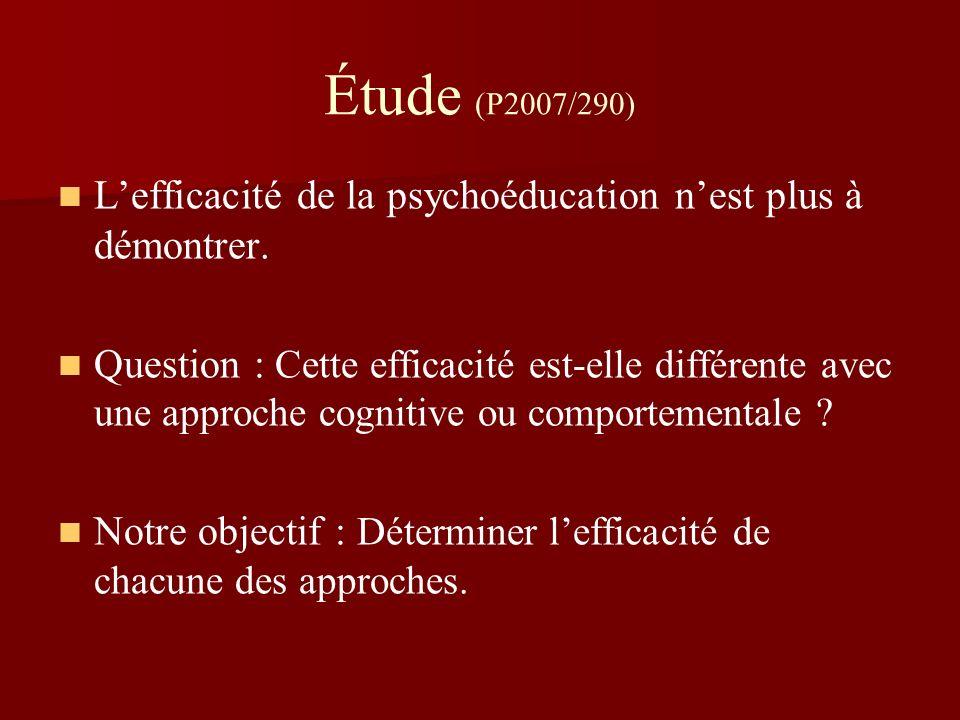 Étude (P2007/290) L'efficacité de la psychoéducation n'est plus à démontrer.