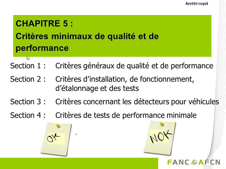 Critères minimaux de qualité et de performance