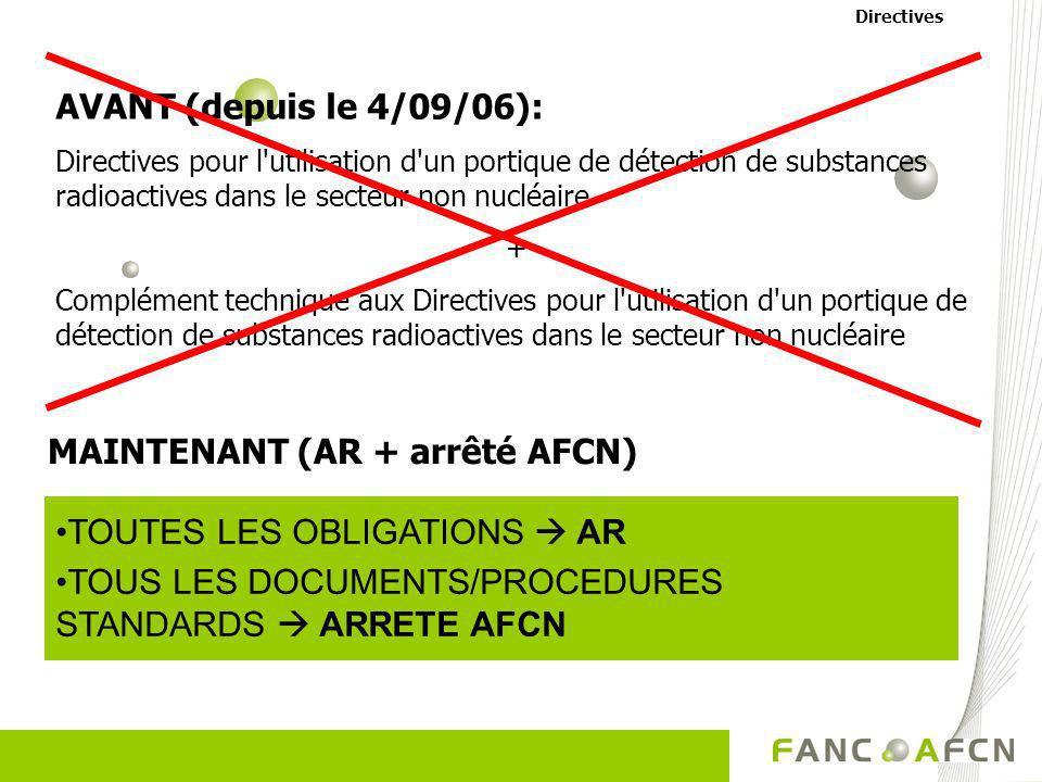 MAINTENANT (AR + arrêté AFCN)