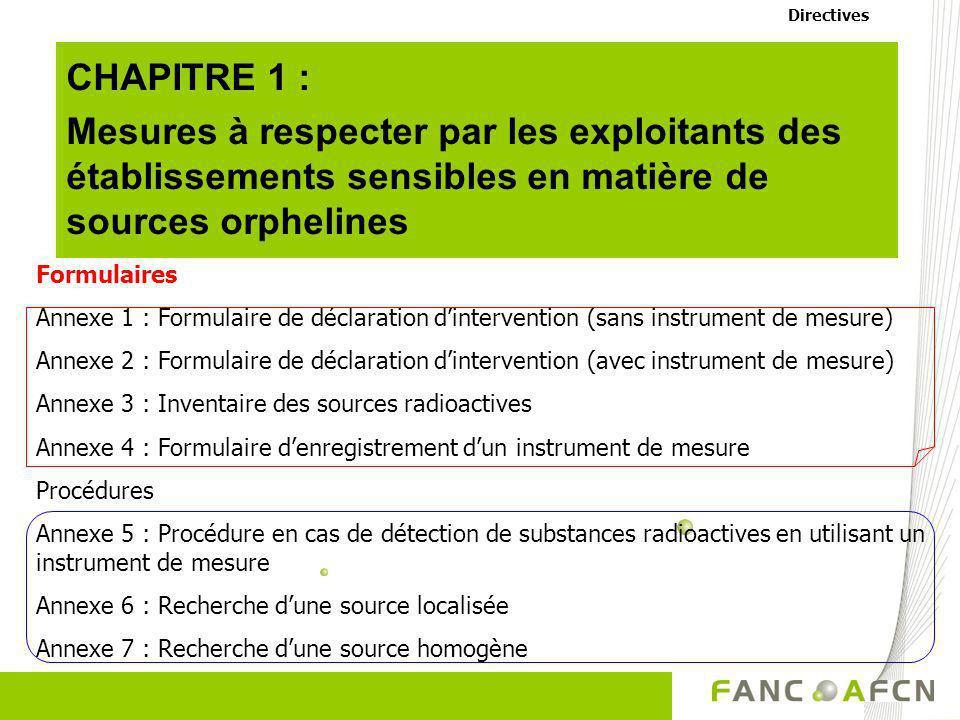 Directives CHAPITRE 1 : Mesures à respecter par les exploitants des établissements sensibles en matière de sources orphelines.