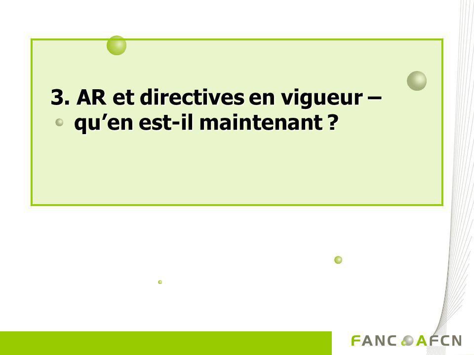 3. AR et directives en vigueur – qu'en est-il maintenant